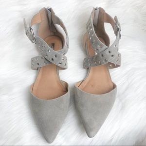 Halogen Molly Pointy Toe Flat Grey Suede Size 8